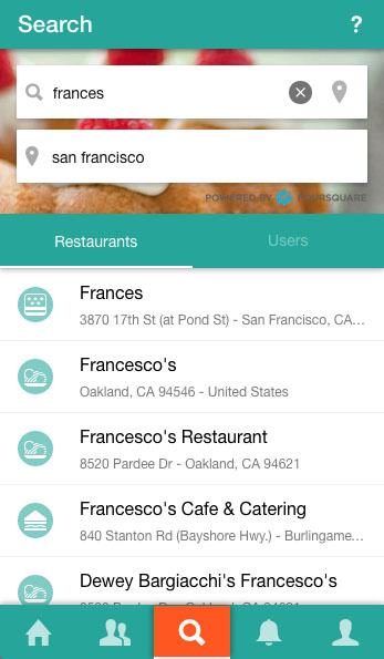 search restaurant screen
